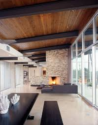 wooden ceiling with dark beams