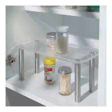 stainless steel and clear plastic helper shelf image
