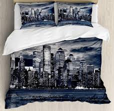 city duvet cover set dramatic view of new york skyline from jersey side clouds buildings 4 piece bedding set