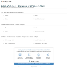 quiz worksheet characters of elie wiesel s night study com print characters of elie wiesel s night worksheet
