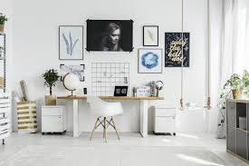creative office desk ideas. White Chair At Wooden Desk In Bright Home Office Interior With Posters And Plant On Cabinet Creative Ideas