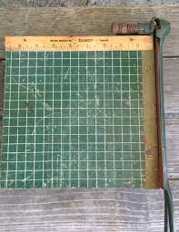 Industrial Office Design Ideas Delectable VINTAGE PAPER CUTTER Green Wood Metal Small Schoolroom Etsy
