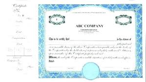 Template For Stock Certificate Corporate Certificate Template Shares Certificate Template