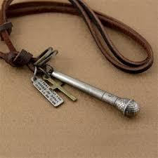 men vintage bronze microphone cross pendant leather cord necklace men jewelry