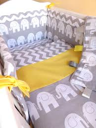 crib or cot or cot bedding set grey elephant zig zag 100 cotton made to order
