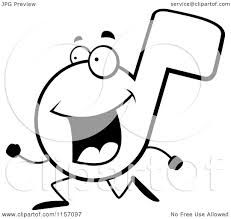Cartoon Clipart Of A Black And White Music Note Running - Vector ...