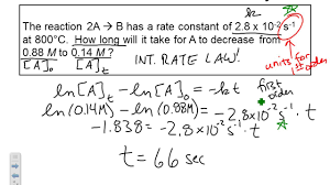 kinetics integrated rate law first order