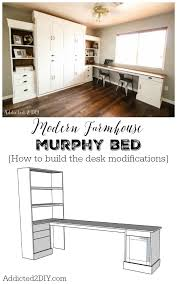Murphy bed plans Twin This Tutorial And Free Plans Show You Step By Step How To Add Desk Onto Addicted Diy Diy Modern Farmhouse Murphy Bed How To Build The Desk free Plans