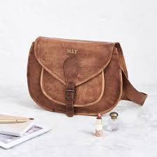 vintage leather saddle bag large