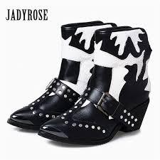 jady rose vintage black white women genuine leather horsehair ankle boots metal pointed toe booties female rivet botas militares
