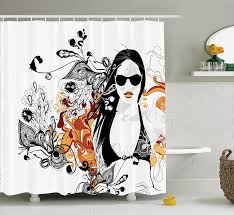 teen girls decor shower curtain set by party girl in glasses with flowers blossoms ornamental patterns background image bathroom accessories