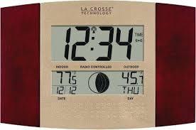la crosse atomic outdoor clock la technology digital atomic wall clock w indoor outdoor temperature la
