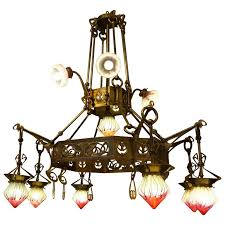 rare huge art nouveau chandelier with elisabeth hutte glass for