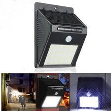20 led solar powered pir motion sensor wall light outdoor security garden lamp