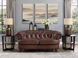 mario top grain leather chesterfield loveseat hand rubbed finish