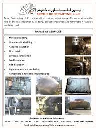 Range Of Services: Tel: +971 2 5502151, Fax: +971 2 5502152, P.O.Box:  92767, Abu Dhabi, United Arab Emirates | Heat Transfer | Chemical  Engineering