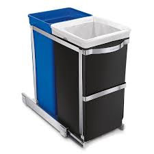 Kitchen Cabinet Garbage Can Amazoncom Simplehuman Under Counter Pull Out Recycler Trash Can