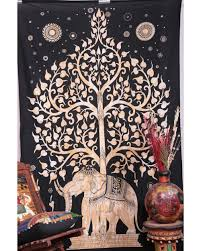extravagant elephant tapestry wall hanging good luck twin tie dye tree of life new age dorm
