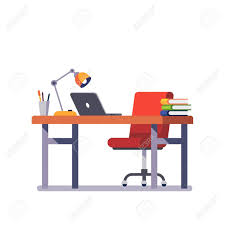 designer office desk isolated objects top view. Home Or Office Desk With Casters Chair, Laptop Computer, Some Paper Files And Binders Designer Isolated Objects Top View T