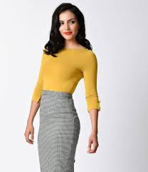 Banned Retro Yolk Yellow Three-Quarter Bow Sleeve Knit Modern Love Top
