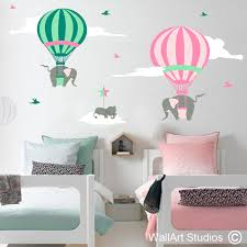 hot air balloon with elephants wall art decals