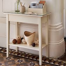 small modern wood console table with glass top and shelf painted with white color for narrow hallway house design ideas