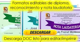 Formatos De Diploma Reconocimiento Y Nota Laudatoria Editable E