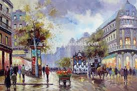 well know street scene paris canvas oil painting in stock for home dacoration