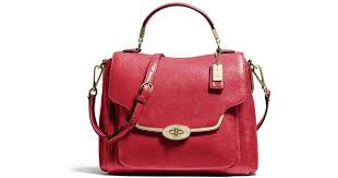 ... Coach Madison Small Sadie Flap Satchel in Leather in Red Ly ...