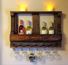 Decoration Image Is Loading Handmaderusticwoodwinerackwallmountedkitchen Shelves Design Handmade Rustic Wood Wine Rack Wall Mounted Kitchen Shelf Wine