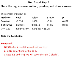 step 3 and step 4 state the regression equation p value and draw