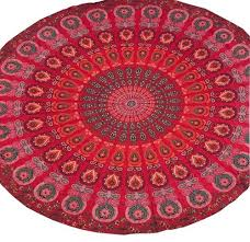 cotton multicolor round red tapestry