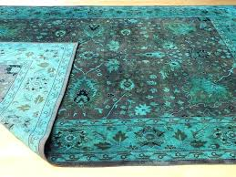 teal overdyed rug reclaimed