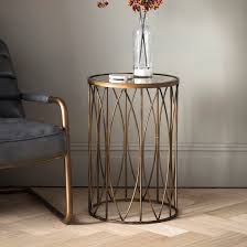 interior antique gold round side table with vintage mirror top primrose storage drawers tables for living