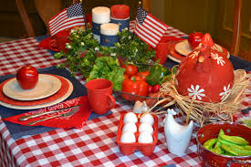 13. Use red-white or blue-white gingham for a tablecloth.