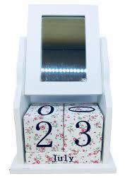 wooden block perpetual office desk calendar mirror photo frame white
