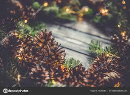 Cone Lights Christmas Macro Pine Cone Christmas Tree Branch Xmas Lights Natural