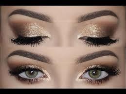 soft smokey eyes gold glitter eye makeup tutorial