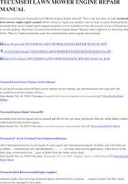 Get~tecumseh lawn mower engine repair manual