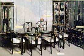black lacquer dining room furniture. hand painted on black lacquer dining table with 6 chair ha1920 dimensions 82 room furniture m