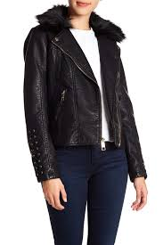 image of guess faux fur leather moto jacket