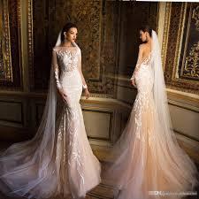 milla nova champagne mermaid long sleeve wedding dresses 2017