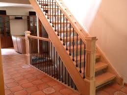 Wood Stairs and Handrail with Iron Balusters in Aluvium Voorhees NJ
