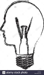 Monochrome Light Bulb Monochrome Sketch With Light Bulb With Glass In Shape Of