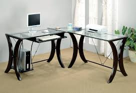 image of amazing glass l shaped desk