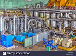 electric generator power plant. Machine Room In Thermal Power Plant With Electric Generators And Turbines Generator N