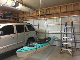solution diy garage kayak storage pulley system yourhyoucom how to build a canoe hoist in how