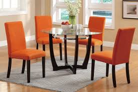 Glass Dining Table Set 4 Chairs Poundex F2348 5pcs Casual Glass Dining Set