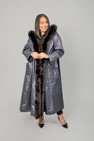 25732 ink leather coat with black fox trimmed hood and tuxedo front