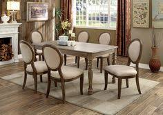 7 pc siobhan collection rustic dark oak finish wood transitional style dining table set this